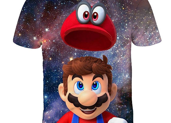 Cartoon Mario Bro Print Toddler hildren T-Shirts Kids Anime Summer Funny Tees