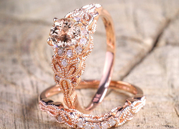 2 Pcs/Set Zircon Engagement Rings for Women Rose Gold Color Wedding