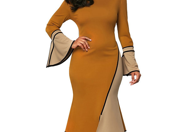 Casual Plus Size Slim Ruffles Pathwork Dresses Elegant Vintage