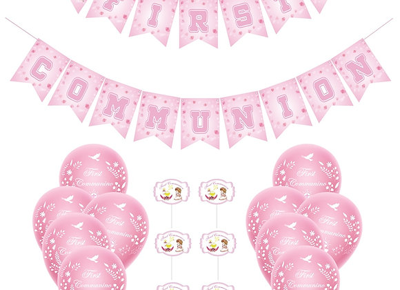 1Set Pink First Communion Banner Holy Grail Balloons Cake Toppers Girls Bap