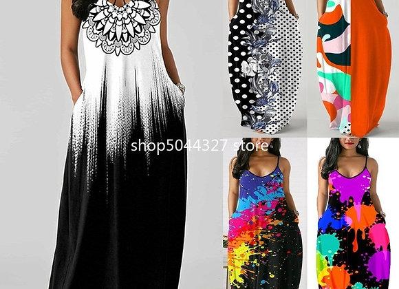 2021 Summer Sexy African Women Printing Sleeveless Pocket Plus Size Long Dress