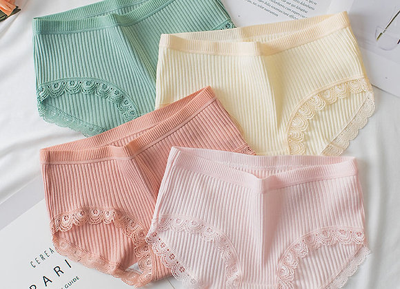 3 Pairs/Lot New Women's Cotton Solid Soft Panties Girl Briefs Ms. Cotton Middle