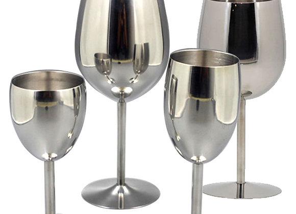 2Pcs Wine Glasses Stainless Steel 18/8 Metal Wineglass Bar Wine Glass Champ