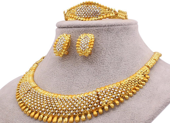 African Gold Color Jewelry Sets Wedding Gifts Party for Women Wife Necklace