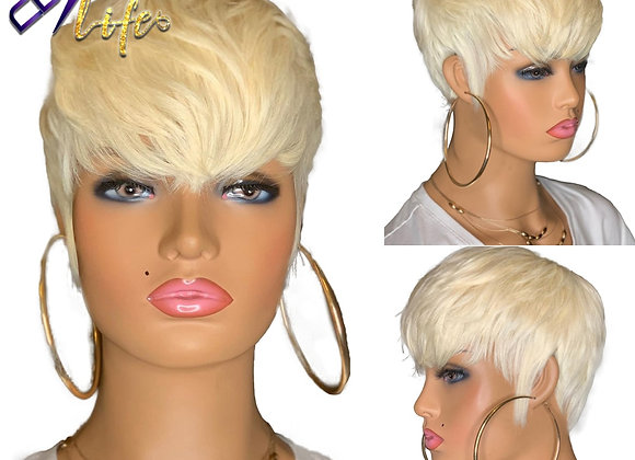 613 Honey Blonde Color Wig Short Wavy Bob Pixie Cut Full Machine Made Non Lace