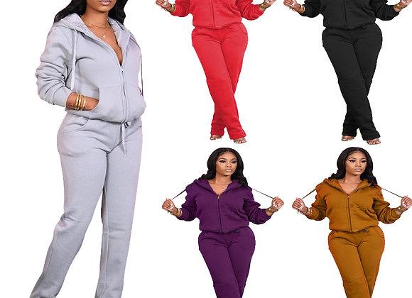 CM.YAYA Streetwear Fleece Sweatsuit Women's Set Hooded Jacket Jogger Pants Set