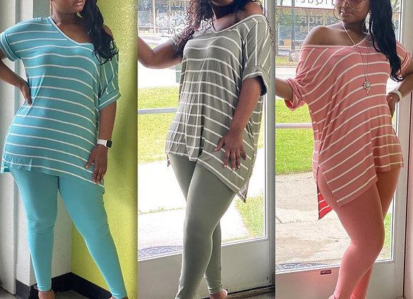 CM.YAYA Women Sport Striped Print V-Neck Tee Top Jogger Pants Suit Two Piece