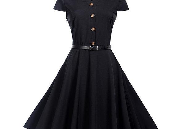 Dress Vintage Rockabilly 50's Women Jurken Party Swing Vestidos Black Red Pinup