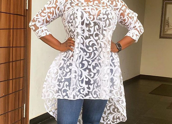 Clocolor Sexy Sheer Top African Fashion White Lace Plus Size Blouse Women