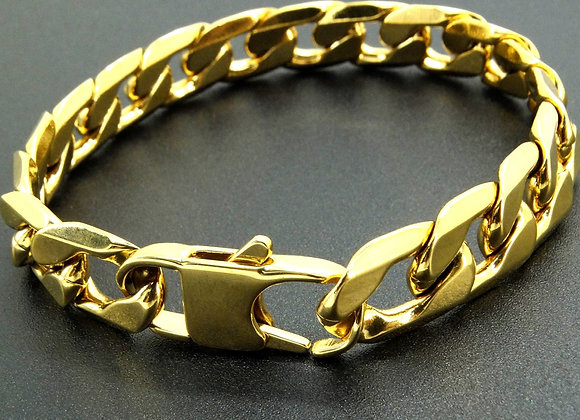 100% Stainless Steel Bracelet 6/8/12 Mm 8 Inches Curb Cuban Chain Gold Color