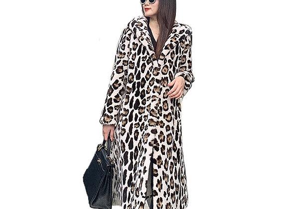 Ftangaiur Winter Import Velvet Mink Fur Coat With Fur Hood Print Leopard
