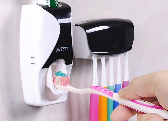 Automatic Toothpaste Dispenser Wall Mount Dust-Proof Toothbrush Holder Wall Moun