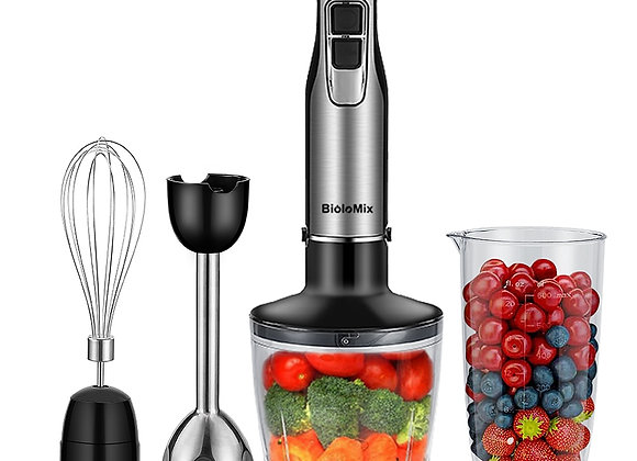 BioloMix 4 in 1 High Power 1200W Immersion Hand Stick Blender Mixer Includes