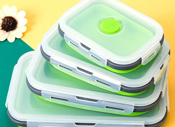 4 Pcs Silicone Lunch Box Portable Bowl Colorful Folding Food Container Lunchbox