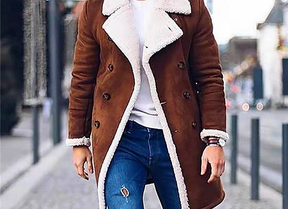 CYSINCOS Men's Warm Suede Jacket Coat Male Winter Wool Fleece Long Trench Coat