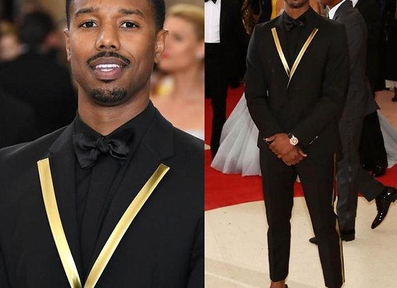 Black Men Suits for Ceremony Prom Party Slim Fit Groom Tuxedo Gold Lapel 2Piece