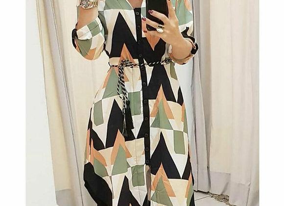 Autumn Spring Women Streetwear Belted Shirt Style OL Dress Long Sleeve Wave Pri