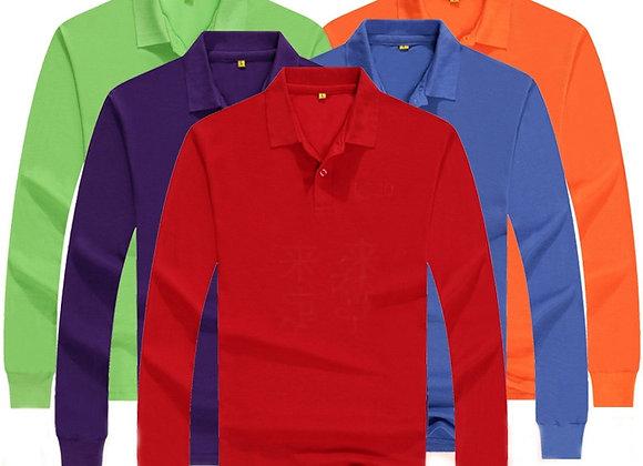 Dropshipping Spring Autumn Solid Mens Polo Shirts CasualLong Sleeve Polos