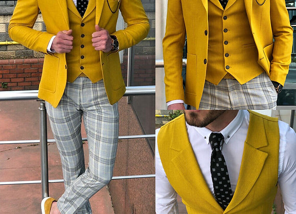 Formal Yellow Men Suits Slim Wedding Groomsman Tuxedos Classic Fit Notch Lapel