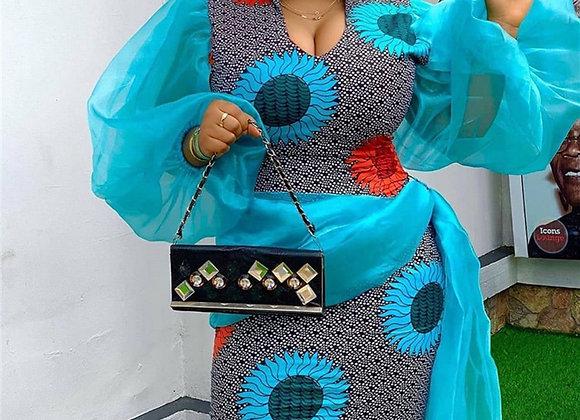 Chic Design Women Bodycon Blue Dress Elegant 2020 African Lady Mesh Patchwork