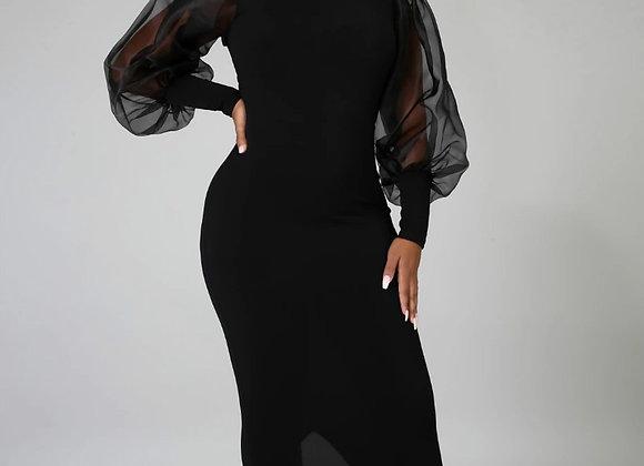 Black Bodycon Women Dress Patchwork Mesh Long Lanter Sleeves Slit Mid-Length
