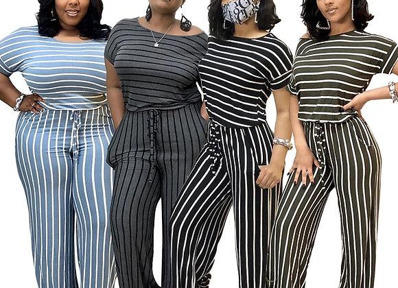 CM.YAYA Women Plus Size S-5xl Striped O-Neck Short Sleeve Straight Jumpsuit