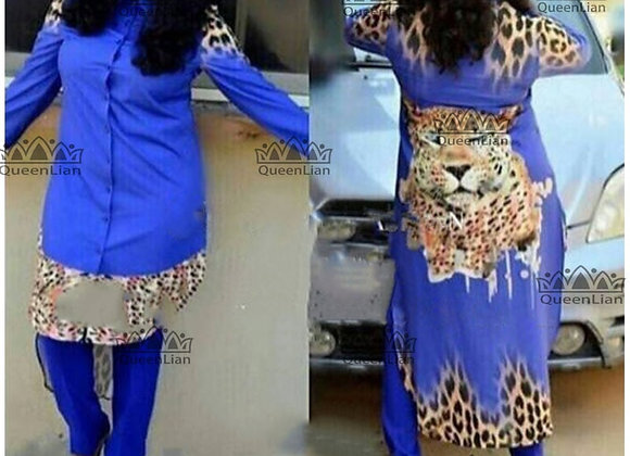 African Chiffion Design Dress Long Top With Pants for Lady (TZ04#)