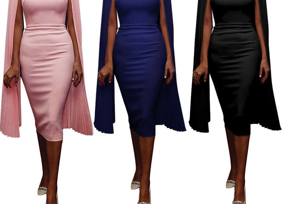 2020 New Fashion Summer Cape Shoulder Elegant Women  Dress UK Party Dress