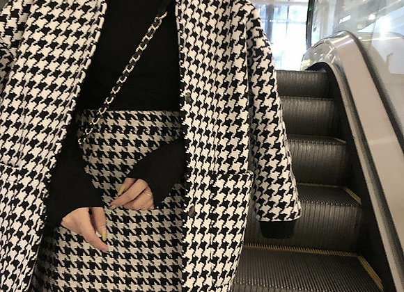Black and White Houndstooth Jacket Women's Autumn and Winter Woolen Jacket
