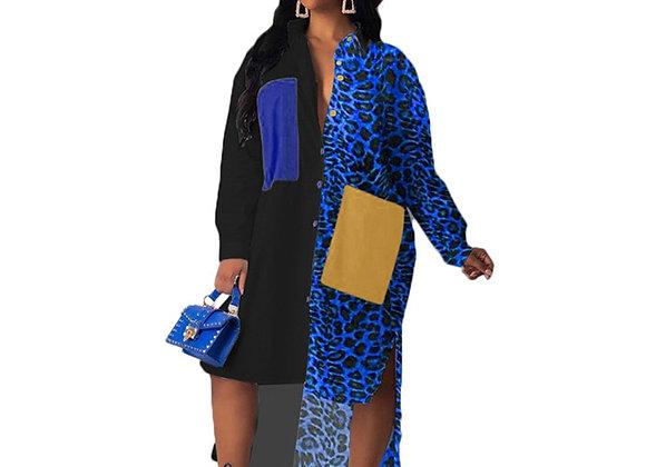 Autumn Long Sleeve Shirt Dress Women Turn-Down Collar Loose Casual Dress Leopard