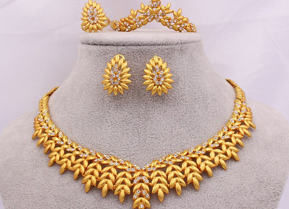 Ethiopia Jewelry Sets for Women Gold Necklace Earrings Bracelet