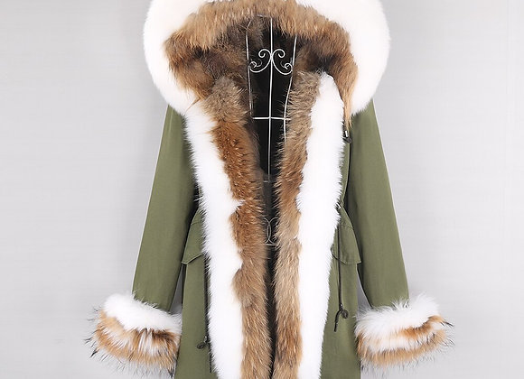 2020 New Wome Long Park Winter Jacket Natural Raccoon Fur Collar  Real Fur Coat