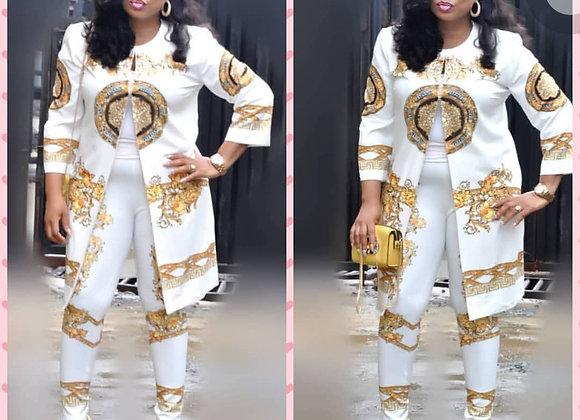 African 2 Piece Set Women Print Elastic Bazin Coat and Long Pant Rock Style Dash