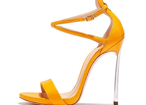 Consice Yellow Blue Elegant Narrow Band Buckle Party Shoes  Sandals 33-43