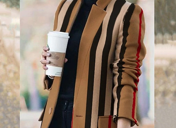 2020 NEW Autumn and Winter Women's New Long-Sleeved Lapel Coat Printed Woolen