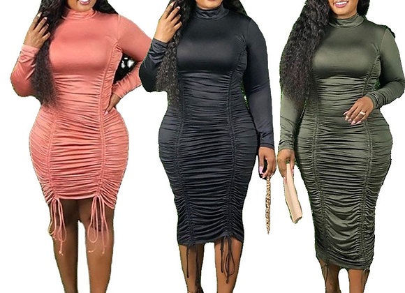Fall Long Sleeve Dresses Elegant Turtleneck High Waist Draped Satin Dress Stack