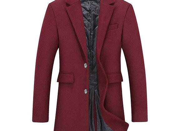 BIG 10XL 8XL 6XL Men's Wool Coat Winter Warm Solid Color Long Trench Jacket