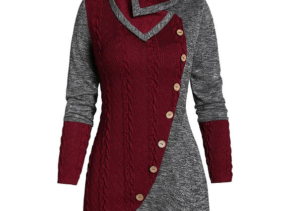Fashion Buttons Knitted Tunic Blouse Sweater Plus Size Casual Winter Ladies Tops