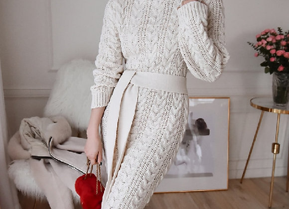 2020 Women Winter Drss Temperament Bursting Elegant Vintage High Collar Knitted