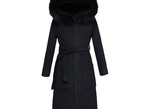 Black Woolen Coat Winter Women Jacket New Fashion With Fur Collar Hooded Outer