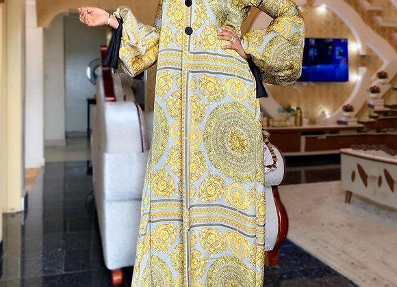 Fall Long Sleeve Maxi Dress African Ladies Rich Bazin Golden Print Vintage