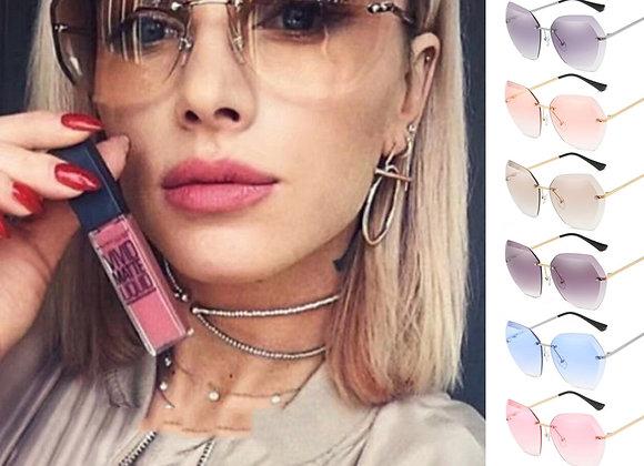 Fashion Brand Design Vintage Rimless Pilot Sunglasses Women Men Retro Cutting