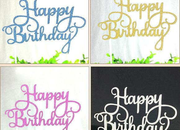 1Pcs Gold/Silver/Blue/Fuchsia Color Cupcake Cake Topper Happy Birthday Cake Flag