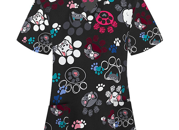 *B132 Women Animal Print Casual Short Sleeve V-Neck Carer Top Cartoon Dog Print