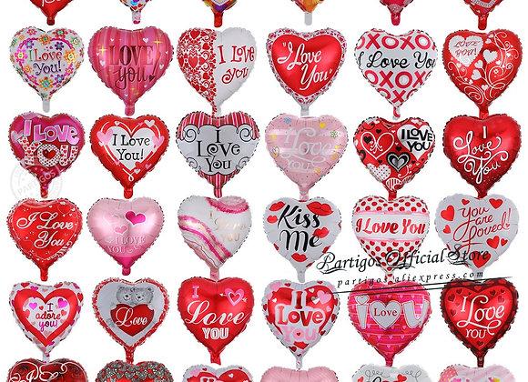 10pcs/Lot 18inch Heart Balloons Wedding Valentine's Days I Love You Alumin