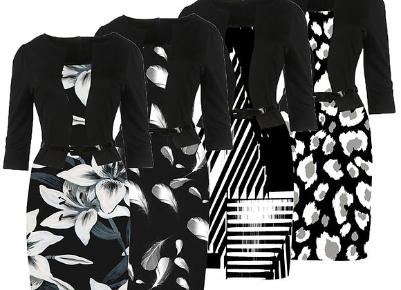 Dress Black Floral Print Pencil Bodycon Casual Office Business