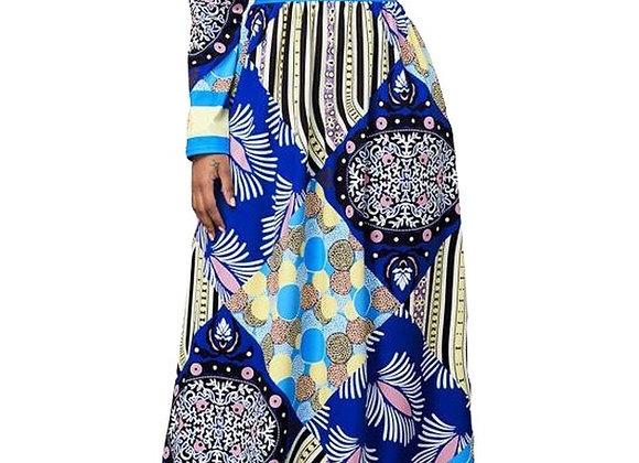 African Design Dashiki Dress Print Maxi Dresses Muslim Abaya Bazin Robe Gowns