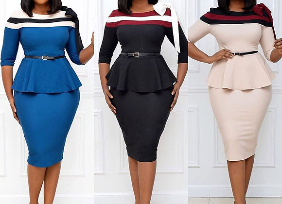 African Dresses for Women 2020 Autumn African Clothing Color Matching Knee-Lengt