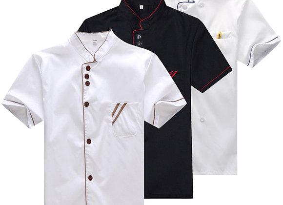 Chef Uniform Work Clothes Men Kitchen Tops Summer Short Sleeve Hotel Restaurant