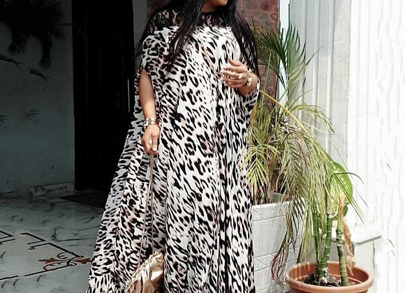 African Dresses for Women 2020 Dashiki Summer Plus Size Leopard Long